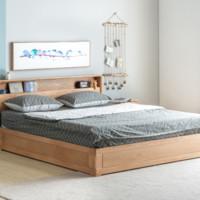 VISAWOOD 维莎原木 w2016-y 日式橡木箱体床