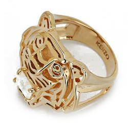 KENZO 高田贤三 女士金色钢镀玫瑰金虎头镶嵌款戒指 7026383 01 08 058号