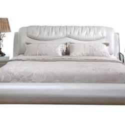 全友家居 时尚卧室皮艺婚床 +床头柜*2