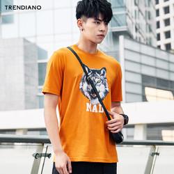 TRENDIANO棉狼字母印花短袖t恤3GC202835P