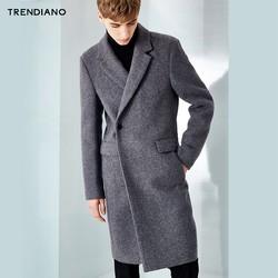 TRENDIANO男装秋冬英伦纯色长款羊毛呢外套大衣3JC334580P