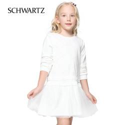 schwartz女童连衣裙长袖韩版2018新款春秋中大童蕾丝公主裙纱裙子