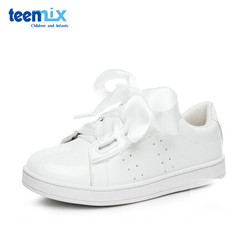 天美意童鞋女童运动鞋儿童舒适透气休闲鞋蝴蝶结系带平底鞋DX0248 白色 33码