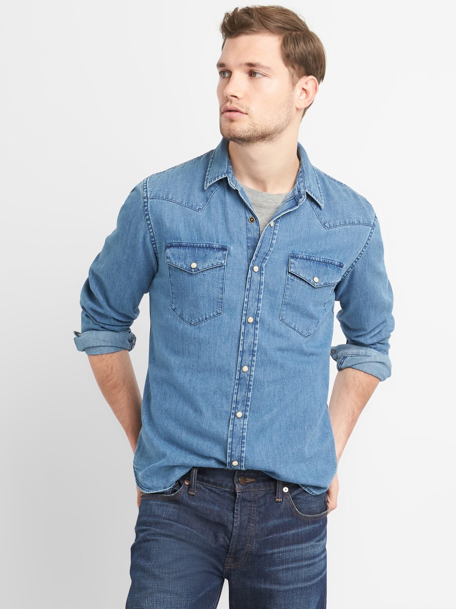 Gap 盖璞 225678 男士西部风修身牛仔衬衫 中度牛仔蓝 175/88A(XS)