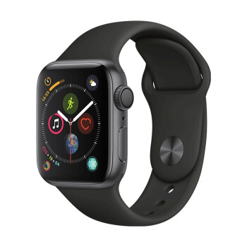 Apple 苹果 Apple Watch Series 4 智能手表 (深空灰铝金属、GPS、40mm、黑色运动表带)