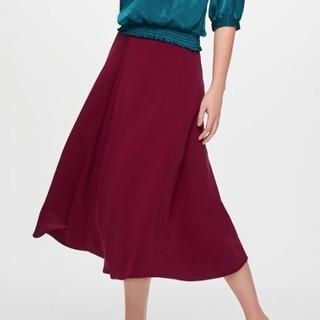 GU 极优 306217 女士喇叭中长裙 (枣红色、L)