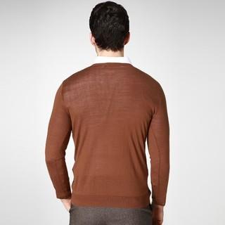 K-BOXING 劲霸 FYYY3346 男士拼接格子羊毛衫 (暗紫红、170)