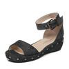 Hush Puppies/暇步士专柜同款夏季时尚铆钉搭扣坡跟女凉鞋HLA05BL7 179元