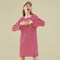 LE'TEEN 乐町 CWFA83544 女士针织条纹连衣裙 (L、大红色)