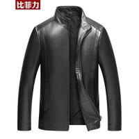 BEVERRY 比菲力 32586147603 男士绵羊皮机车夹克 (黑色、XL)