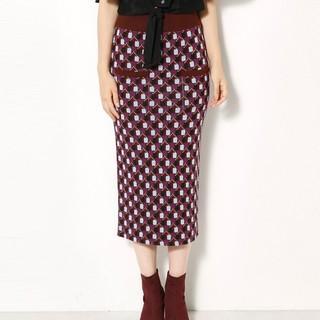 SLY 030AAA71-0060 女士混色格纹针织包臀半身裙 (中绿色)