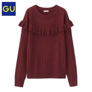GU 女装 宽罗纹花边针织衫2018新款圆领女长袖修身 306702 极优