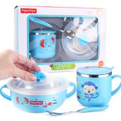 美国费雪儿童餐具 婴儿辅食不锈钢宝宝碗带盖单柄带盖水杯勺子套装组合350+270ML 蓝色 *3件