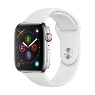 Apple Watch Series 4智能手表(GPS 蜂窝网络款 44毫米不锈钢表壳 白色运动型表带 MTX02CH/A)