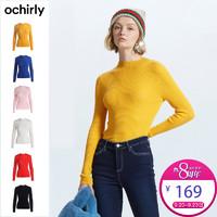 ochirly 欧时力 1GZ3030850 女士纯羊毛针织衫 (黄色、S)