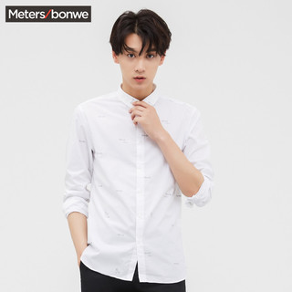 Meters bonwe 美特斯邦威 723012 男士衬衫 (黑色、96A)