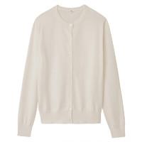 MUJI 无印良品 W8SA801 女士棉桑蚕丝圆领开衫 (浅粉红色、M)