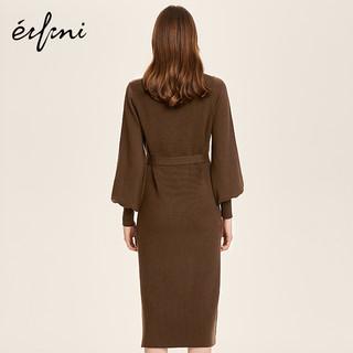 Eifini 伊芙丽 1189994331 女士针织连衣裙 (S、棕色)