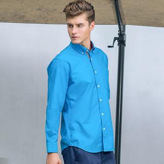 BESSSHIRT 佰杰斯 P01C17-07573 男士牛津纺长袖衬衫 (酒红色、43)