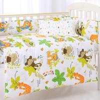 象寶寶(elepbaby)床品七件套 嬰兒床品套件 可拆洗床圍床單被套被芯枕套枕芯(動物王國)+湊單品