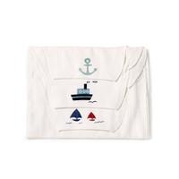 全棉时代 婴儿纱布汗巾 25*50cm 船锚+轮船+帆船 3条/袋