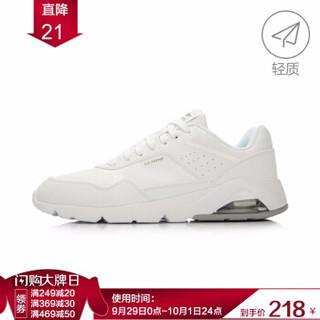 李宁官方旗舰店Bubble Ace男子跑步鞋半掌气垫复古经典运动鞋ARCL039 白/凝雪灰 45