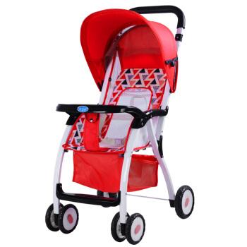 宝宝好 4166085 避震轻便婴儿四轮推车 西瓜红