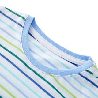 PurCotton 全棉时代 男宝宝短袖T恤 (蓝绿彩条、 80/48)