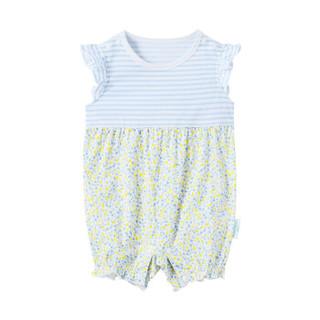 PurCotton 全棉时代 2000209002 婴儿针织飞机袖连体衣 80/48(建议12-18个月) 黄色小花