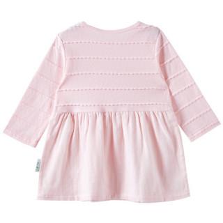 PurCotton 全棉时代 2000224501 幼儿女款拼接长袖连衣裙 100/52(建议3-4岁) 樱花粉