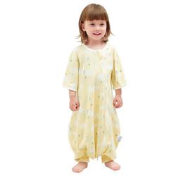 象宝宝(elepbaby)婴儿睡袋 新生儿宝宝分腿睡袋 夏薄款针织全棉儿童防踢被 挪威小象黄色M码