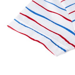 PurCotton 全棉时代 2000253202 婴儿衣服婴儿针织海军领短袖连体衣+帽子 80/48(建议12-18个月) 红色波浪