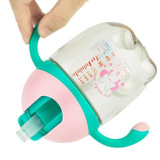 迪士尼宝宝吸管杯 PPSU儿童水杯 夏季带手柄防漏滑盖学饮壶330ML 莹粉