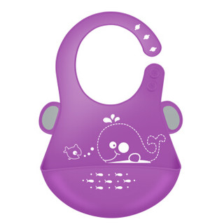 MillyMally 宝宝吃饭围兜 食饭兜防水 婴儿童小孩硅胶围嘴喂饭衣兜 鲸鱼 高贵紫