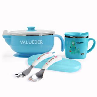 威仑帝尔 儿童不锈钢注水保温碗餐具套装 婴儿辅食碗叉勺喝水杯子 防摔吸盘碗套装 蓝色新生儿