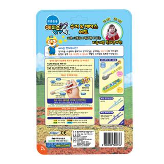 韩国爱迪生啵乐乐系列儿童餐具套装宝宝学习筷不锈钢勺子便携套装三件套Petty粉色