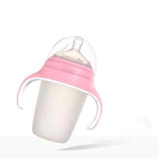 爱因美宽口径硅胶奶瓶全软新生宝宝防摔耐摔奶瓶带手柄吸管婴儿用品 粉240