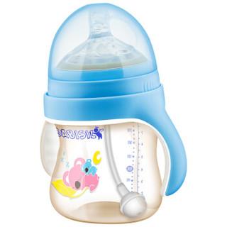 贝儿欣(BABISIL)宝宝特宽口径防摔PPSU吸管奶瓶亲馨系列240ml粉蓝