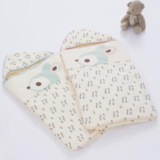 雅氏(Yeah's)婴儿包被新生儿可脱卸式抱被80x40cm春秋冬季多功能宝宝抱被粉绿色
