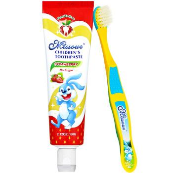 蜜语Missoue儿童婴儿牙刷牙膏套装60g草莓味无氟+蓝色软毛3-6-8岁宝宝进口 *12件