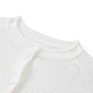 PurCotton 全棉时代 2000250102 女童棉线开衫 120/56(建议6-7岁) 白色