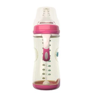 伊斯卡尔(EASYCare)婴儿奶瓶PPSU宽口径 仿母乳奶嘴防摔防烫感温哺乳瓶 260ml粉色 L奶嘴新生儿 6-12个月使用
