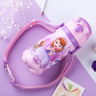 迪士尼(Disney)宝宝吸管杯 儿童保温杯 婴儿水杯带背带水壶 WD77紫色公主440ml