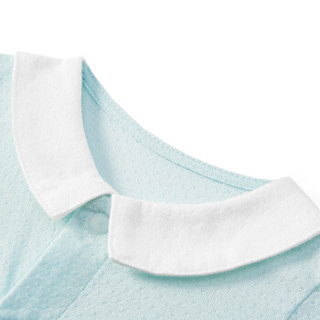 PurCotton 全棉时代 2000199701 婴儿针织提花长袖带领连体衣 73/48(建议6-12个月) 浅蓝