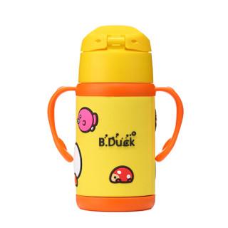 B.DUCK小黄鸭儿童保温杯不锈钢真空双柄软胶吸管杯保温水杯水壶300ml(黄色)6272TM