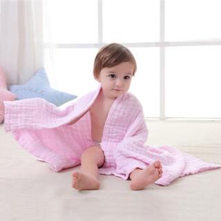 贝吻 B2042 婴儿棉质水洗6层纱布浴巾 粉色 90CM*110CM