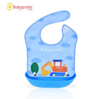 Babyprints防水宝宝吃饭围兜饭兜婴儿围嘴小孩口水巾儿童仿硅胶食饭兜可拆卸 蓝色