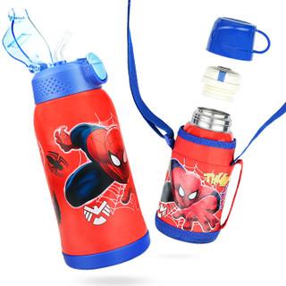迪士尼婴儿童保温杯 宝宝吸管杯 双盖喝水杯学饮杯(含杯套)600ML  蜘蛛侠