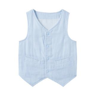 PurCotton 全棉时代 2000196901 婴儿纱布绅士马夹 80/48(建议12-18个月) 蓝白竖条