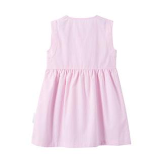 PurCotton 全棉时代 2000225601 幼儿女款梭织条纹短袖连衣裙 90/52(建议2-3岁) 粉条纹